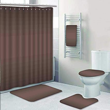 AmaPark Designer Bath Polyester 5 Piece Bathroom Set Chocolate Brown Color Inspired Ombre Design