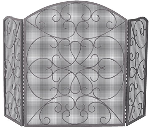 Uniflame Corporation 3 Panel Bronze Fireplace Screen with Ornate Design (Uniflame Corporation 3 Panel)