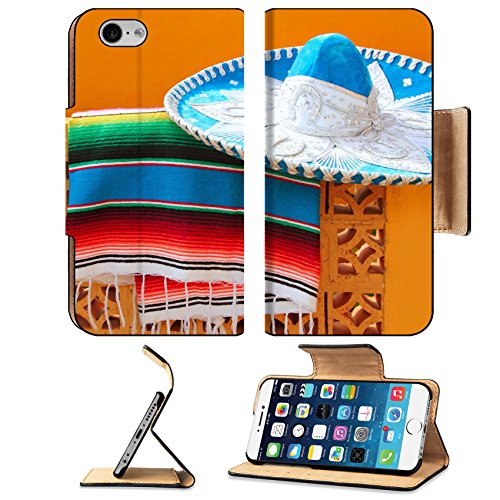Liili Premium Apple iPhone 6 iPhone 6S Flip Pu Leather Wallet Case IMAGE ID: 9416792 charro mariachi blue mexican hat serape poncho over orange tiles wall