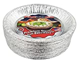 Pactogo 10'' (Actual Top-Out 9-5/8 Inches - Top-In 8-3/4 Inches) Aluminum Foil Pie Pan - Disposable Baking Tin Plates (Pack of 25)