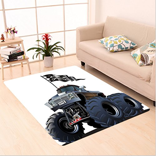 6.5' Suspension (Nalahome Custom carpet ar Large Suspension Monster Truck With Dead Skull Pirate Flag Off To Road Artsy Decor Grey Brown area rugs for Living Dining Room Bedroom Hallway Office Carpet (6.5' X 10'))
