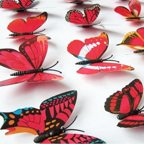 12PCS 3D PVC Magnet Butterflies DIY Wall Sticker Home Decor Yellow - 7