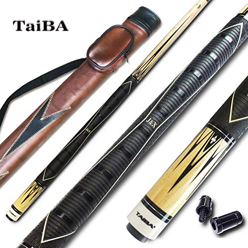 -Blue Hard Case Red TaiBA 2-Piece Pool Stick 13mm Tip Gray Black Brown Green Selectable Hardwood Canadian Maple Professional Billiard Pool Cue Stick 19-22 Oz 58