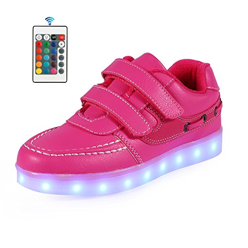 Price comparison product image AFFINEST Boys Girls Light Up Shoes 11 Color LED Flashing USB Charging Sneakers (Toddler/Little Kids/Big Kids),32,Pink