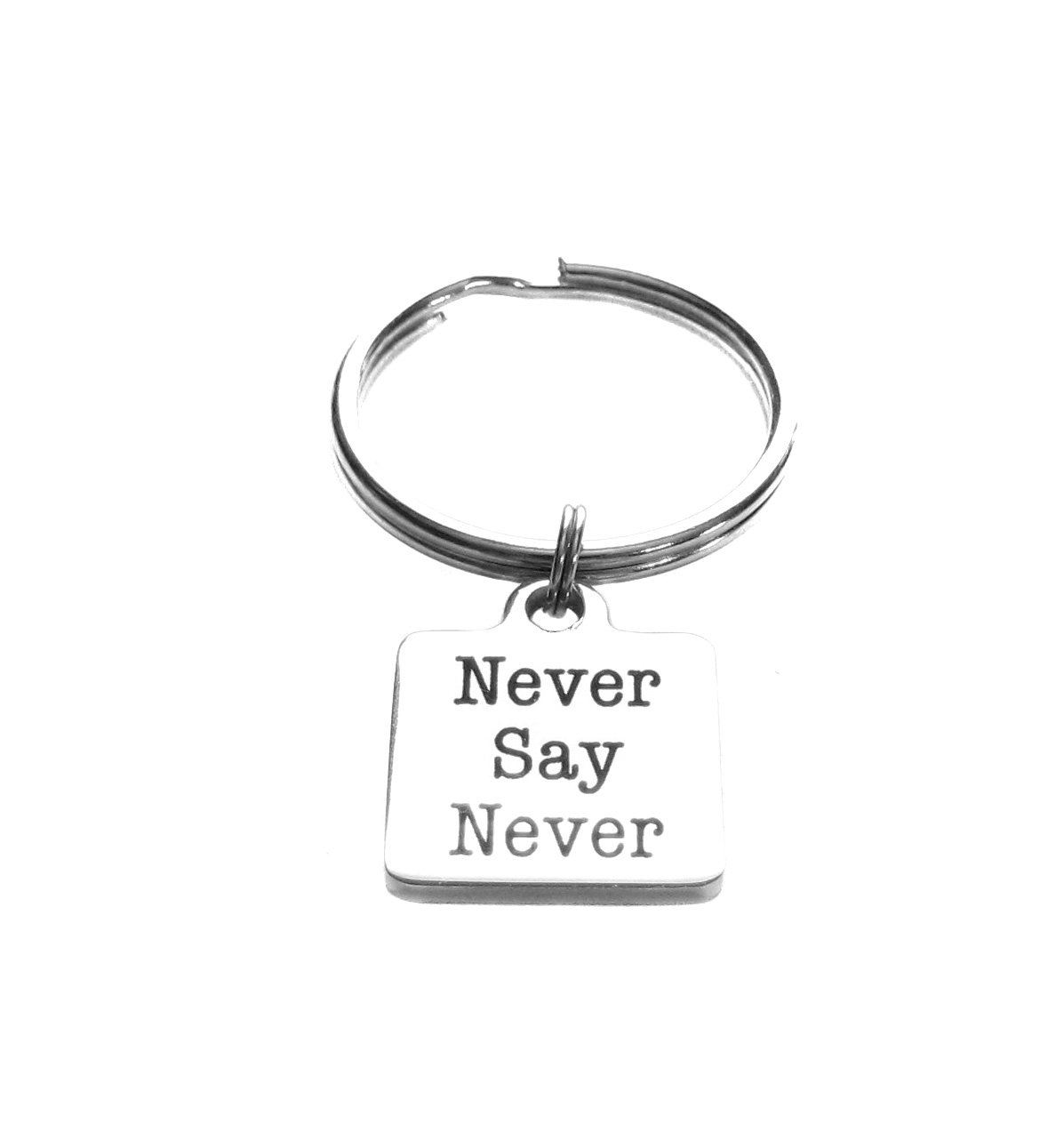 Never Say Never Stainless Steel Square Charm Keychain, Luggage Inspirational Gift