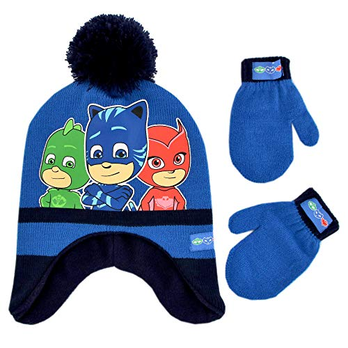 PJ Masks Boys' Toddler Assorted Characters Hat and Mittens Cold Weather Set, Blue/Black, Age -