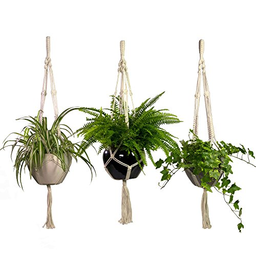 Macrame Plant Hangers 3 Pack Set Large Outdoor Indoor Planter Holders- Handmade Natural Cotton Rope for Decorative Balcony, Garden, Patio by CesuraPro- 2 Years Warranty (Hangers Outdoor Plant)