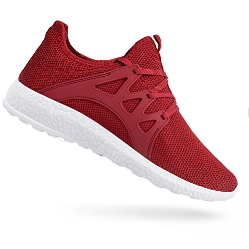 QANSI Womens Fashion Sneakers Casual Athletic Tennis Knit Running Shoes Red White 9