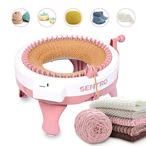 Knitting Machine with Row Counter, 48 Needles Smart Weaving Loom Round Knitting Machines, Knitting Board Rotating Double Knit Loom for Sock/Hat, Weaving Loom for Adults or Kids