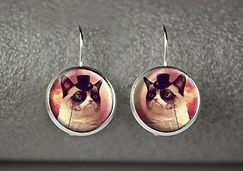 Grumpy Cat earrings, Grumpy Cat jewelry, Grumpy Cat accessories (3) (Reddit Halloween Costume)