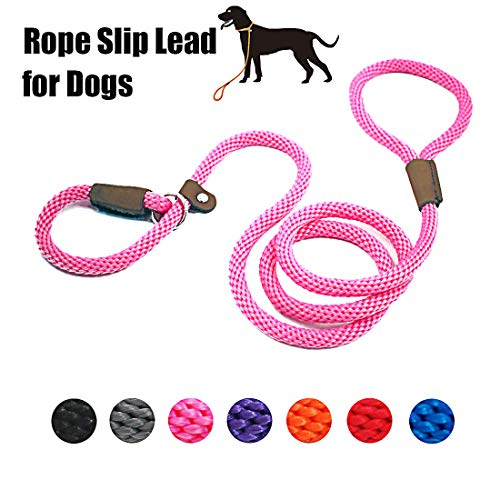 lynxking Dog Leash Rope Strong Heavy Duty Braided Rope Slip Leads No Pull Training Lead Leashes for Medium Large Dogs (5', Pink)