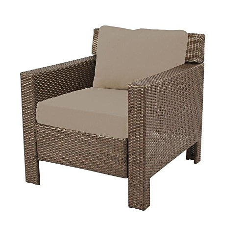 Hampton Bay Beverly Patio Deep Seating Chair with Beige Cush