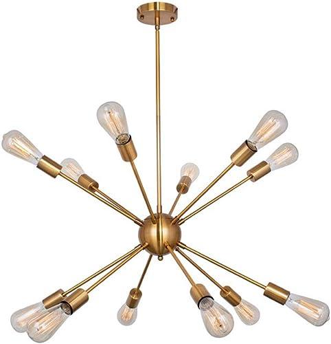 YHYSTL Modern Sputnik Chandelier Vintage Brushed Brass Ceiling Light Fixture Industrial Pendant Lighting