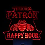 L'amazo Tequila Patron Happy Hour Home Bar Room Decor Day/Night Sensor Led Night Light Sign (Red)