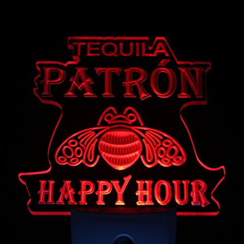 L'amazo Tequila Patron Happy Hour Home Bar Room Decor Day/Night Sensor Led Night Light Sign (Red)
