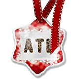 Christmas Ornament ATL Cheetah Cat Animal Print, red - Neonblond