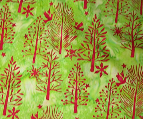 1 Yard Seasonal Bali Batik Trees by Hoffman Fabrics 100% Cotton Quilt Christmas Batik Fabric J2394 161 (Christmas Tree Batik)