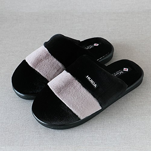 28 Chaussons plancher hommes bois en les rayures épais 4142 pieds en et lame indoor d'hiver de femmes noir chaud épais à pour coton accueil chaussures UUpZnO8r