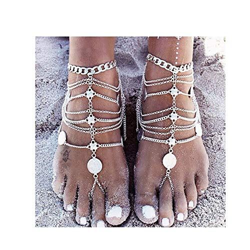 - Missgrace Gold Silver Luxury Fashion Coin Bohemian Vintage Ankle Chain Bracelet Beach Wedding Foot Jewelry Barefoot Sandal Anklet Chain for Women and Girls 2pcs (Gold)