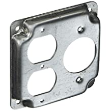 Hubbell-Raco 831C 1/2-Inch Raised Square Cover with (1) Duplex, (1) 20 Amp 1.62-Inch Diameter Twist-Lock and Crushed Corner, 4-Inch