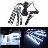 Car Interior Lights, GLIME 4-Piece 12 LED Car Atmosphere Light,Interior Underdash Lighting Kit ,Car Auto Floor Lights,Waterproof Glow Neon Light Strips Decoration Lamp for All Vehicles White