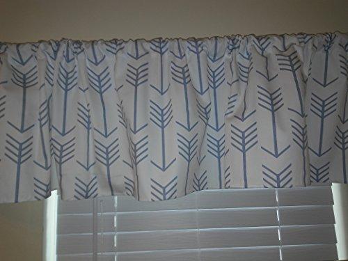 slate-blue-arrows-on-white-valance-curtains-window-treatment-arrow-shapes-archery-line-dorm-room-dec