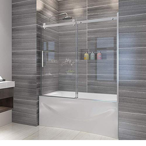 Elegant Semi-Frameless Sliding Bath Tub Door 60