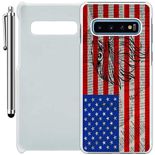 Custom Case Compatible with Galaxy S10 (American Flag Eagle Newspaper) Plastic White Cover Ultra Slim | Lightweight | Includes Stylus Pen by ()