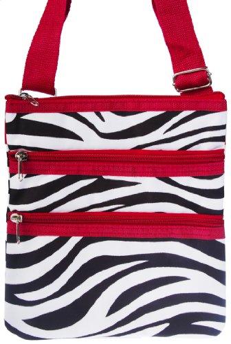 Zebra Shoulder Large Trim Bag Purse Red Crossbody HqHr67x