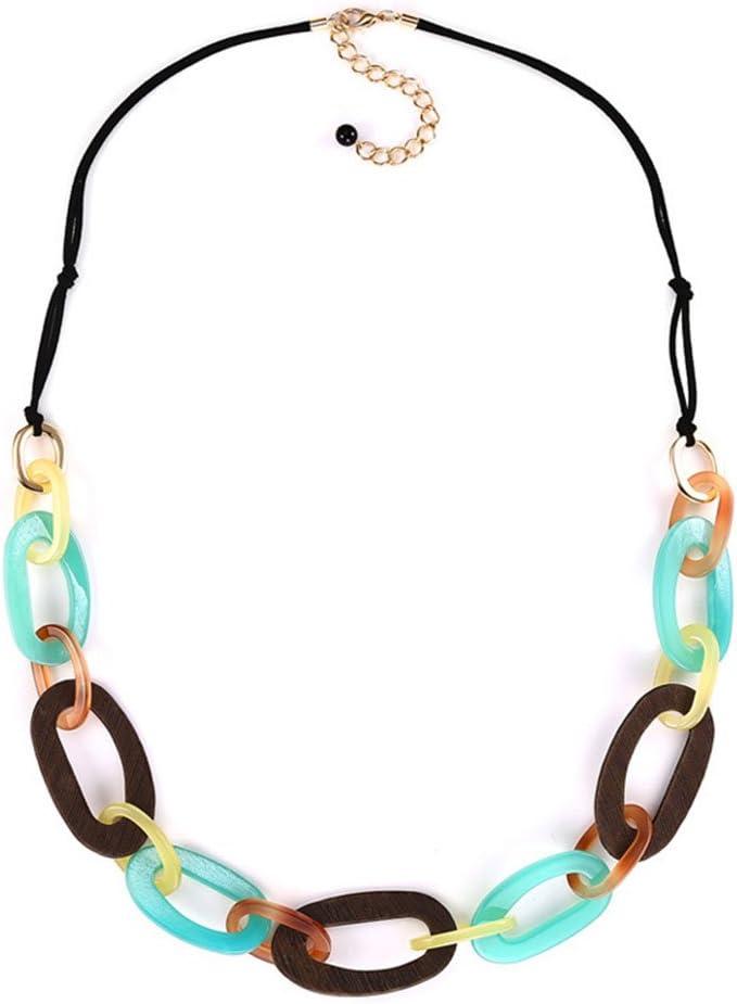 Z&HA Collar De Mujer Collar Babero Accesorios De Vestir Cadena De Cuero Larga Desgaste Acrílico Geométrico Redondo Joyas Originales