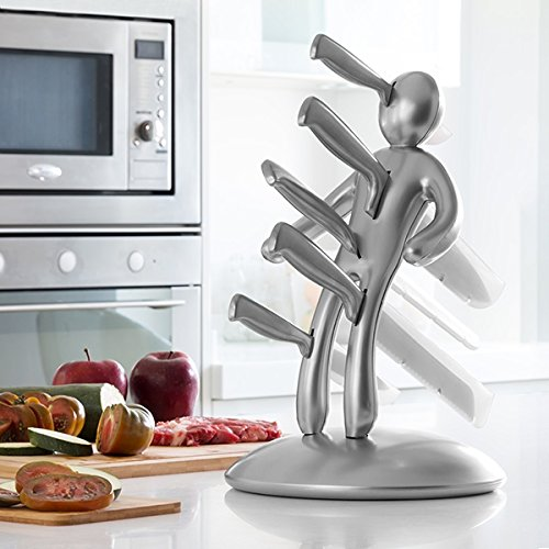 a2zchef Premium 5-Piece Stabbing Man Everyday Use Novelty Stainless Steel Knife Block Set with Unique Holder (Silver) by a2zbazaar