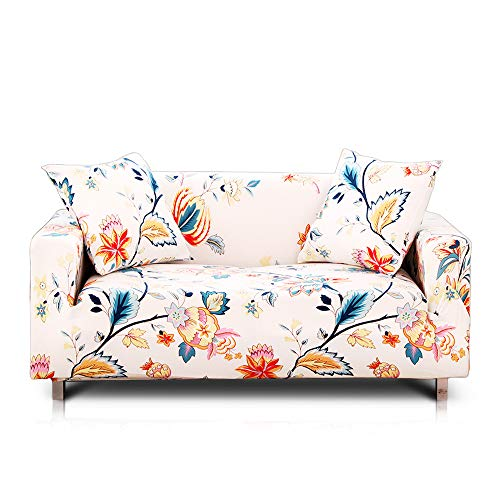 Floral Slipcover - Hipinger Spandex Fabric Stretch Couch Cover Sofa Slipcover Stylish Furniture Protector for 3 Cushion Couch (3 Seater, Floral Pattern)