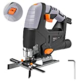 Jigsaw, 5 Amp 3000 SPM, 118inch(3M) Cord Length, Pure Copper Motor, Adjustable Speed (1-6 dial) & Bevel Angle (0°-45°) & Orbit (1-4), Dust Extraction, Parallel Guard - PJS03A Tacklife
