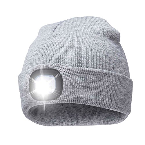 (A.S Unisex 4 LED Knitted Beanie Hat for Camping, Fishing, Grilling, Auto Repair, Jogging, Walking, or Handyman Working, Hands Free Led Beanie Cap Extremely Bright (Gray))
