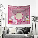 RuppertTextile Girls Customed Widened Tapestry Lady Sitting in Front of French Cosmetic Make-Up Mirror Furniture Dressy Design Wall Hanging Tapestry 70W x 70L Inch Pink Yellow