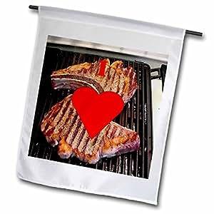 fl_60650_1 Florene Food n Beverage - I Love Steak - Flags - 12 x 18 inch Garden Flag