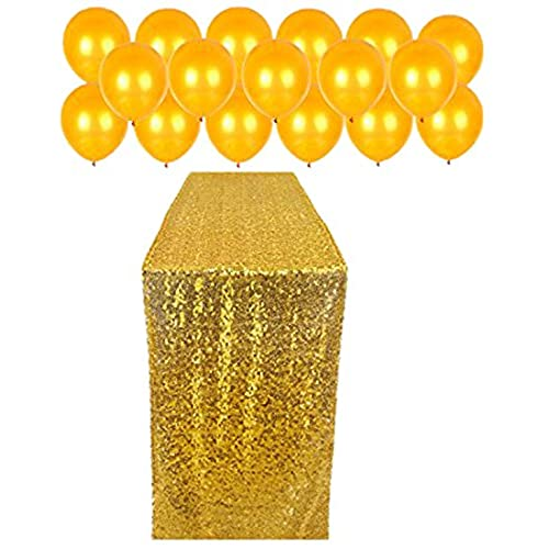 Black and gold wedding decor amazon konsait gold sequin table runner 12 108in for table glitter decoration gold balloons 60pcs gold table cloth fabric decor and balloons for wedding junglespirit Images