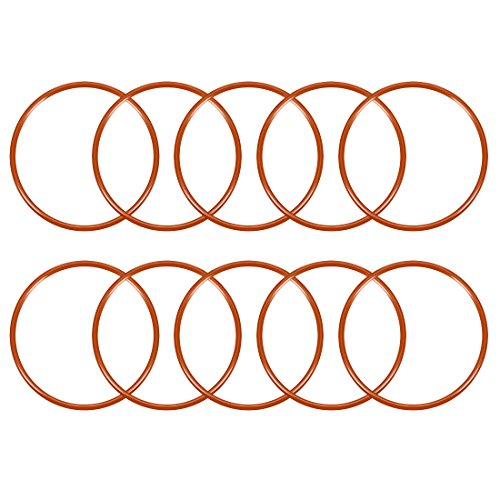uxcell Silicone O-Ring, 50mm Outside Diameter, 45.2mm Inner Diameter, 2.4mm Width, VMQ Seal Rings Sealing Gasket Red, 10PCS