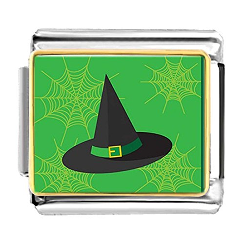 (GiftJewelryShop Gold Plated Halloween Witch hat Bracelet Link Photo Italian Charms )