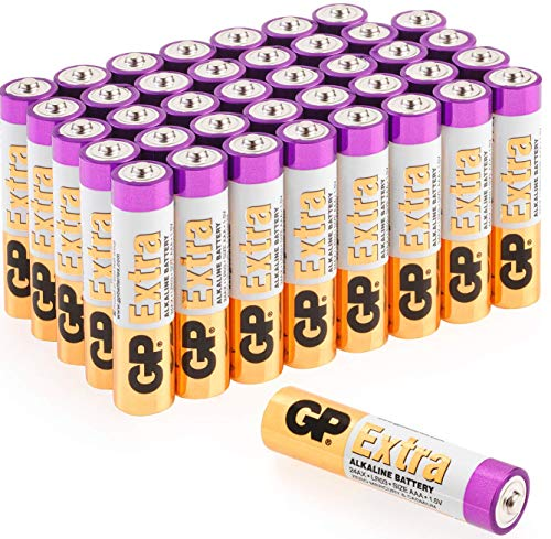 AAA Batteries Pack of 40-1.5V / Micro/Mini / Penlite / LR03 by GP Batteries Extra Alkaline Batteries Suitable for everyday use in a variety of devices – Clocks/Remotes / Mouse/Torch / Etc