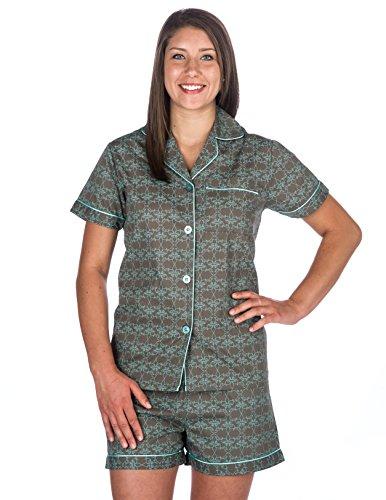 (Noble Mount Womens 100% Cotton Poplin Short Pajama Set - Shamrock Gray - X-Large)