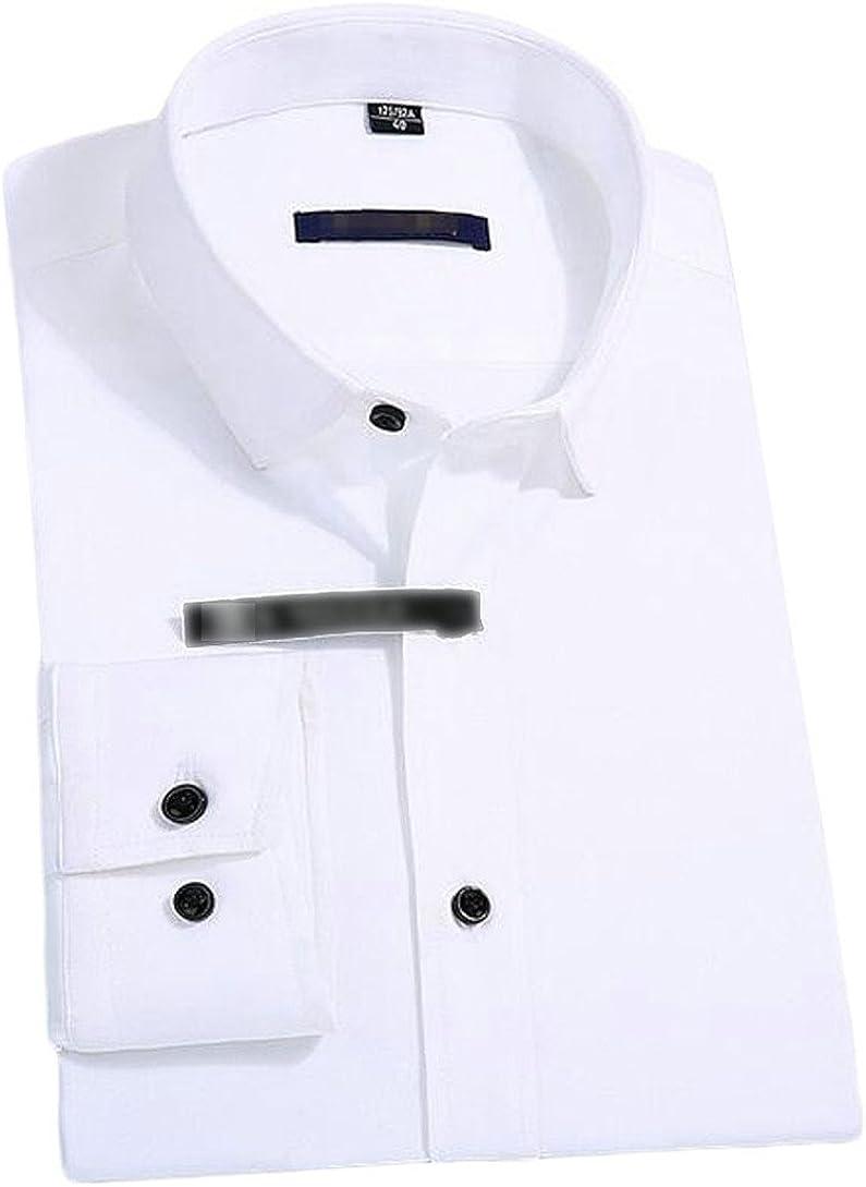 XXBlosom Mens Slim Long Sleeve Button Front No Iron Classic Dress Shirt