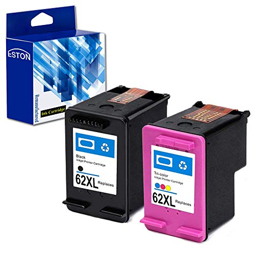 - ESTON Remanufactured Ink Cartridge Replacement for HP 62XL ( Black,Cyan,Magenta,Yellow , 2-Pack )