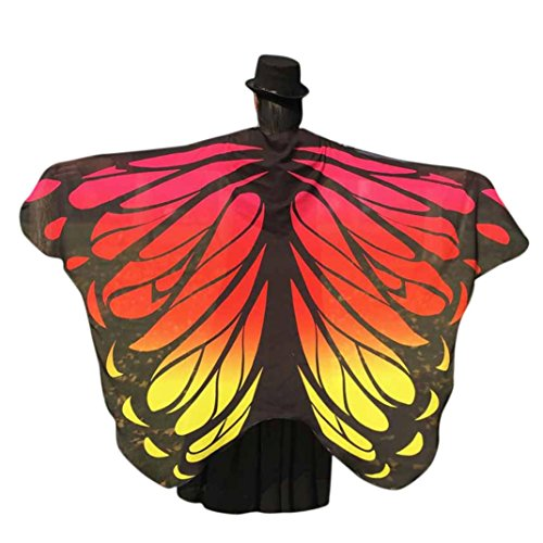[Elevin(TM)Women New Soft Fabric Butterfly Wings Shawl Scarf Fairy Nymph Pixie Costume (197125CM, Orange] (Orange Adult Butterfly Costumes)