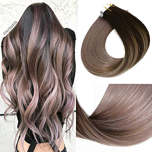 2019 Fashion Hair Color HUAYI Brown To Milky Lavender/Pink Mauve Ombre Tape In Hair Extensions Human Hair 50g 20Pcs Soft Thick End Tangle Free Durable Silky Straight Balayage Hair Extensions (2TG#22)