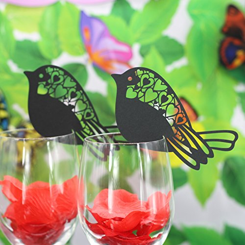 MagiDeal 50 Birds Wine Glass Place Card Wedding Baby Shower Party Decor