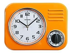 Visua Kira Retro Metal Kitchen Clock With Mechanical Timer, Orange by Visua