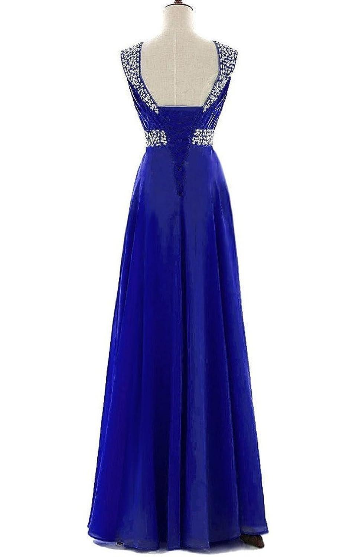 Snowskite Women's Long Chiffon A-line Beading Prom Dress Royal Blue 0