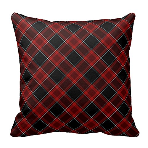 Red Black and White Plaid Pattern Throw Pillow Square Pillow