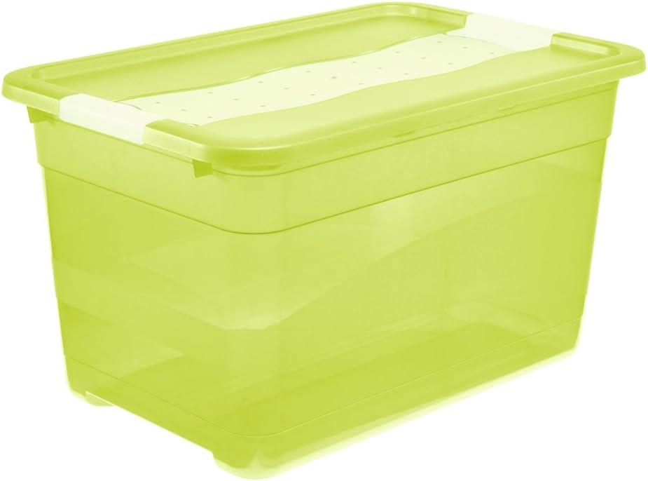 5 St/ück Aufbewahrungsbox transparent 14 Liter mit Deckel und Klickverschluss 385 x 254 x 185 mm